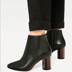 Zara Leather Metallic Deco Chunky Heel Booties